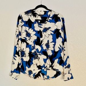The Limited | Blue/White Floral Print Blouse Med